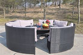 Rattan Patio Table And Chairs Yakoe 10 Seater Round Dining Set Rattan Garden Furniture Patio