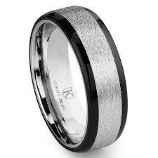mens wedding bands cobalt cobalt xf chrome 8mm italian di seta finish two tone flat wedding