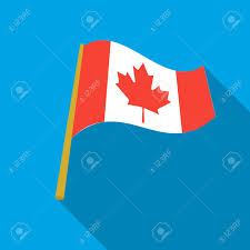 Canadian Flag Symbol Canadian Flag Icon In Flate Style Isolated On White Background