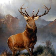 moose rustic cabin tile mural pacifica art studio wildlife art wildlife colorful deer monarch mural ceramic backsplash bath tile
