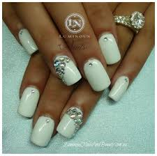acrylic nails with rhinestones white gel nails with crystals