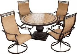 Swivel Rocker Patio Chairs by Hanover Monaco 5 Piece Outdoor Dining Set With High Back Swivel