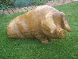 sculpture pig jolly carved wood size statues by