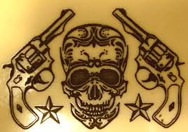 cross skull gun gun skull skull cross bones bullet holes