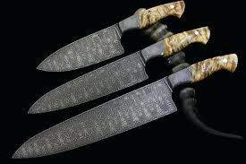 custom kitchen knives knifes set of 3 tsunami damascus custom kitchen knives handmade