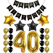 black and gold party decorations 40th birthday decorations balloons banner happy birthday black