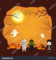 vector halloween border background design monster stock vector