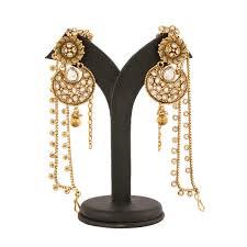 jhumka earrings with chain stylish golden color jhumka earrings with chain hook for hair