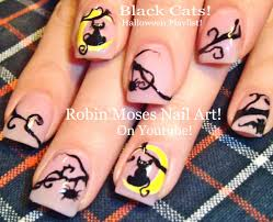 halloween black cat nail art design tutorial youtube