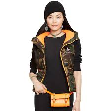 ralph lauren camouflage hooded down vest in green lyst