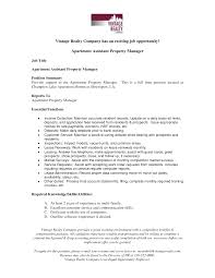 Assistant Manager Job Description Resume by Resume Property Management Resume Samples