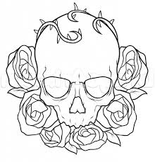 roses drawing pictures how to draw a skull and roses tattoo step