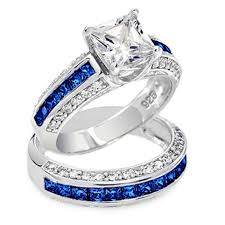 thin blue line wedding band thin blue line 3 585 cttw princess cut engagement ring set blue cz