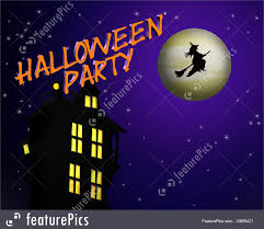 halloween background with house illustration of halloween party invitation