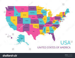united states of america map with alaska and hawaii usa united states america colored vector stock vector 415225675