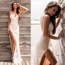 2017 spaghetti straps split evening dresses lace sheath