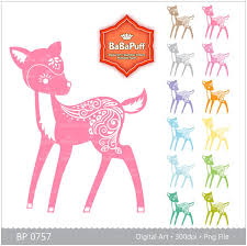 12 colors fawn baby deer clipart birthday card paper cut diy