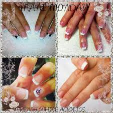 shellac combo french white manicure dark pink pedicure needy
