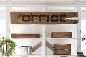 Wood Office Desks Pallet Wood Office Desk With Large Sign And Rustic Benchesfunky