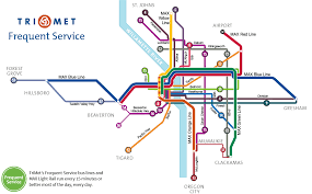 Maps Portland Oregon by Frequent Service Lines
