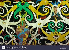 Painting Of House by Traditional Dayak Tribal Culture Ancient Detail Painting Of The