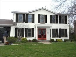 white house black shutters red door fabulous best gray siding