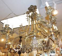 19th century french bronze single light bird cage chandelier