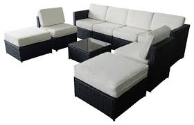 mcombo 9 piece black wicker white cushion patio sectional outdoor