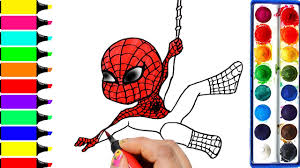 draw color paint spiderman coloring pages and learn colors for