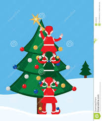 elves and tree stock vector image of 4445513