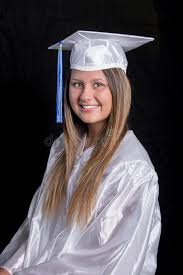 white cap and gown graduate in white cap gown stock photo image 71697454