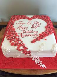 ruby wedding cakes wedding anniversary cakes pictures awesome hearts and flowers 40th
