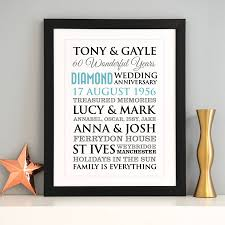 60th wedding anniversary gift personalised diamond wedding anniversary by a type of design