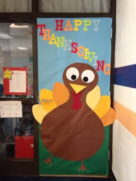 our version of a thanksgiving door decoration classroom