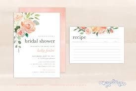 charming bridal shower invitations with recipe cards 80 about