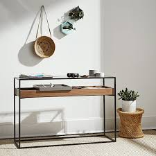 wood and metal console table with drawers contemporary industrial style console table design featuring modern