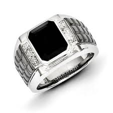 ring of men men s sterling silver black onyx diamond ring jewelry gemologica