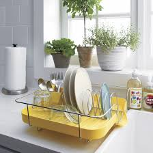 yellow base tray tiny dish rack design with chrome frame on white