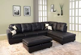 Faux Leather Sectional Sofa With Chaise Low Profile Black Faux Leather Sectional Sofa W Right Arm Chaise