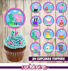 peppa pig cupcakes 24 peppa pig cupcakes toppers instant printable