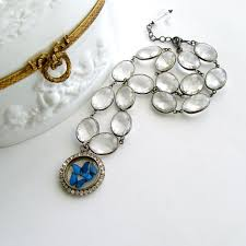 crystal necklace rock images Butterfly kaleidoscope victorian silver paste locket rock crystal jpg