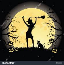 of a witch with a broom and a cat cat and moon silhouette