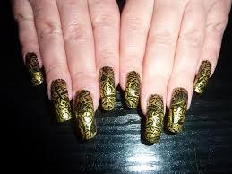 gold u0026 black lace new year 2011 nail art foil design long u2026 flickr