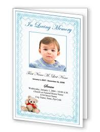 baby funeral program funeral program templates blue teddy template