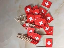 2017 mini swiss flag switzerland paper food picks dinner cake