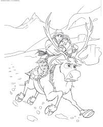 kristoff jumps sven u0026 raquo coloring kids print free