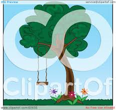 royalty free rf clipart illustration of a tree swing hanging in
