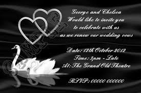 vow renewal invitations personalised black and white swan and hearts wedding vow renewal