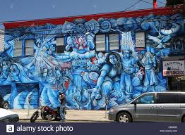 wall mural in the mission district of san francisco stock photo beautiful blue wall art just off 24th street in the mission district in san francisco