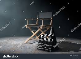 Director Style Chairs Director Chair Movie Clapper Megaphone Volumetric Stock